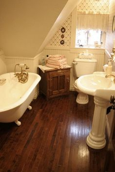 (fiction) Bathroom for room #10 - Attic Hideaway at Grace Bed & Breakfast in Stillwater Springs. (third level, front, left side) XX