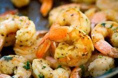 Recipe with olive oil, shrimp, lemon juice, lemon and herb seasoning, salt, black pepper, parsley