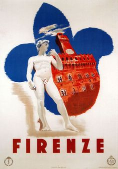 Fantastic Glossy Print - 'Firenze' - Taken From A Rare Vintage Travel Poster (Vintage Travel / Transport Posters) Retro Poster, Poster Vintage, Vintage Travel Posters, Vintage Art, Florence Art, Florence Italy, Vintage Italian Posters, Tourism Poster, Kunst Poster