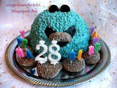 Citromhab krémes Cookie Monster torta http://angelawebcuki.blogspot.hu/2012/08/citromhab-kremes-cookie-torta.html