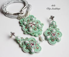 "pendant and earrings-""Spring breeze in the garden"" soutache, white jade, white agate, quartz, glass beads, Czech and Japanese, accessories, Nat. skin."