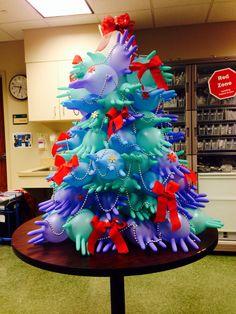 Nurses Christmas Tree #diy #nurseschristmas #hospitalchristmastree #xmas #surgicalglovechristmastree #icunights #diyglovechristmastree #rn  Love my TICU nurses! Ya'll did a great job!