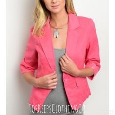 Whether for hanging out with your friends, date night, or for the office, this blazer is a MUST HAVE!! Coral and adorable!! 3/4 sleeves with single button closure.    100% cotton. Comes in S, M, L. Fits true to size.    $24.50 with FREE SHIPPING in the US!! | Shop this product here: spreesy.com/Forkeepsclothingco/118 | Shop all of our products at http://spreesy.com/Forkeepsclothingco    | Pinterest selling powered by Spreesy.com