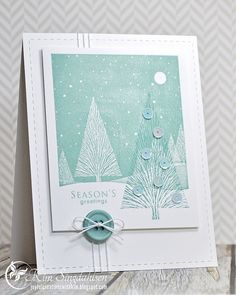 Hero Arts Winter Moon and Many Branches stamps; Stampin' Up Sage Shadow, Papertrey Ink Ocean Tides inks