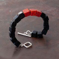 Black Lava Bracelet Men/Women Lava Bracelet Red by SunSanJewelry