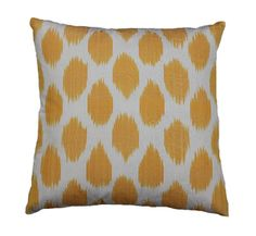 Yellow Spotted Ikat Pillow