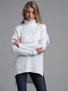 ee99674263d Vinfemass Solid High Neck Tassels Slit Side Loose Knitted Jumper