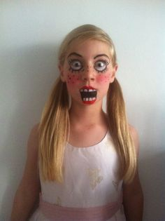 Our lovely daughter as a freaky doll for a Halloween Party!
