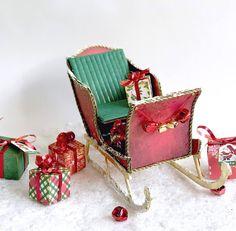 Trineo de Papa Noel hecho de cartón. Cartonaje creativo de scrapbooking. Ideas Scrapbooking, Armchair, Diy, Card Tutorials, Lead Sled, Greeting Cards, Cartonnage, Creativity, Xmas