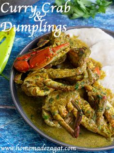 Curry crab and dumpling. Blue crab, cooked down in a curry sauce with coconut milk. Perfectly paired with boiled dumplings. A quintessential Tobago dish Crab Dishes, Seafood Dishes, Seafood Recipes, Cooking Recipes, Lobster Recipes, Atkins Recipes, Shellfish Recipes, Seafood Boil, Ham Recipes