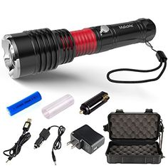 MalloMe 5000 Tactical LED Rechargeable Flashlight Ultra Bright 500 REAL Lumens with Zoomable Adjustable 5 Torch Light Modes 18650 Battery USB Wall and Car Charger Included 8 Piece Set ** Click image for more details.Note:It is affiliate link to Amazon.
