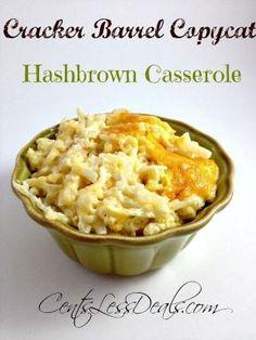 Cracker Barrel Copy cat Hashbrown Casserole recipe.
