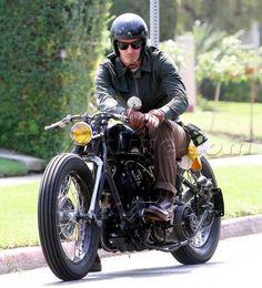 David Beckham motorcycle helmet jacket leather boots brown baseball cap riding gloves