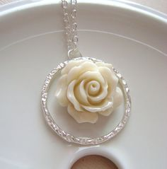 Items similar to Cream Eggshell Necklace with eternity ring and carved rose flower, Bridal jewelry, bridesmaids gift, weddign jewelry. Rose Jewelry, Bridal Jewelry, Diy Jewelry, Beaded Jewelry, Jewelery, Jewelry Accessories, Fashion Accessories, Jewelry Ideas, Cream Wedding Dresses