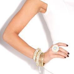 Pastel beaded bracelet and ring