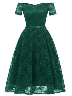 31bd054160 LaceShe Women s Elegant Cocktail A-line Lace Dress