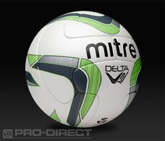 Mitre Footballs - Delta V12 Match Ball - 10 panel - FIFA Approved - White/Green/Grey