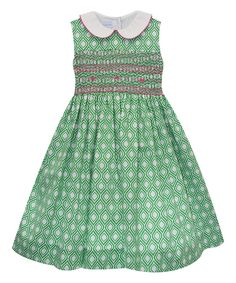 Green Smocked Geometric A-Line Dress - Infant & Toddler