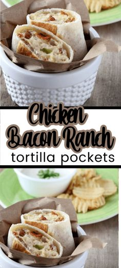 This easy recipe for chicken bacon ranch tortilla pockets is not your average chicken wrap recipe. Learn how to make this chicken recipe for a wrap with loads of flavor and has bacon! Honey Barbeque Chicken, Chicken Bacon Ranch Wrap, Chicken Wrap Recipes, Cream Cheese Chicken, Chicken Wraps, Chicken Pockets, Chicken Ideas, Cooker Recipes, Beef Recipes