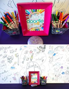"""Create a super easy and fun """"Doodle Wall"""" activity as part of your next Doodle Art Party! from Soiree Event Design"""