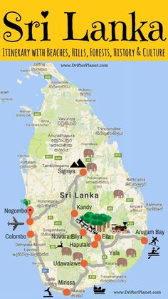 Infographic - Sri Lanka Itinerary with a little bit of everything – mountains, forests, beaches, history, culture, and adventure.