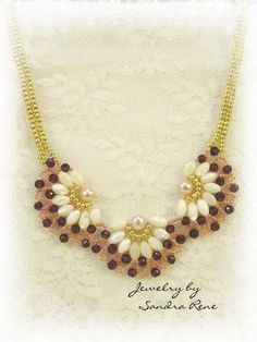 Beadwork Necklace - Mother of Pearl and Ruby Beadweaving - Beaded Beadwoven Jewelry