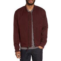 Men's Vince Utility Bomber Jacket (€285) ❤ liked on Polyvore featuring men's fashion, men's clothing, men's outerwear, men's jackets, oxblood, mens jackets, mens bomber jacket, mens utility jacket and mens flight jacket