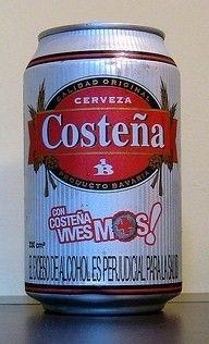 Cerveja Costeña, estilo Standard American Lager, produzida por Cervecería Bavaria S.A., Colômbia. 4% ABV de álcool.