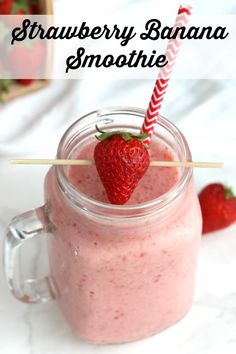 This easy Classic Strawberry Banana Smoothie recipe is so cool and refreshing - a true family favorite! Perfect for a quick breakfast on the go! With ingredients you've probably got on hand, it's ready in moments! ~ from Two Healthy Kitchens at www.TwoHealthyKitchens.com