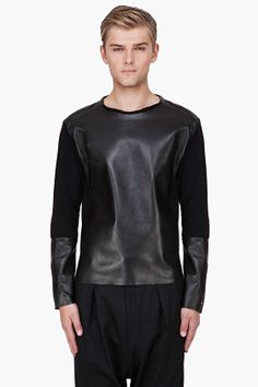 ysl http://www.ssense.com/men/product/yves_saint_laurent/black_plong_leather_panel_sweater/57033
