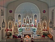 Saint Joseph Roman Catholic Church, in Apple Creek, Missouri, USA - view of nave with Christmas decorations 2 by msabeln, via Flickr