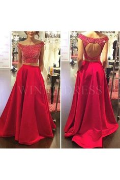 Red Off the Shoulder Keyhole Back Two Piece Prom Dress With Pocket #winniedress #2piecepromdress