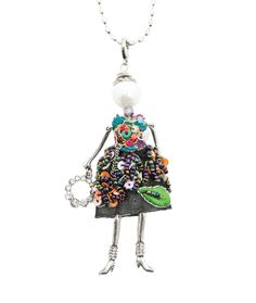 Spencer and Rutherford - Accessories - Long Pendant Necklace - Verna Doll - Bedazzler Eye-catching, individual and gorgeous, this doll necklace emits a personality all of her own. Wear with fun and flair!