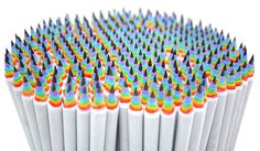 Made from recycled paper, rainbow pencils let you create beautiful paper rainbows when you sharpen them. Rainbow Pencils function like regular wooden pencils, and are the same size and weight, but the