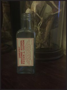 Antique Triangular Bottle with Completely Denatured Alcohol Poison Label - Cabinet of Curiosity by DownADarkAlley on Etsy