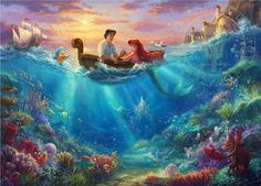"""614 Likes, 8 Comments - Corinne Andersson (@disneylifestylers) on Instagram: """"New Little Mermaid painting by @thomaskinkade available at @world_wide_art.com_gallery #disneyart…"""""""