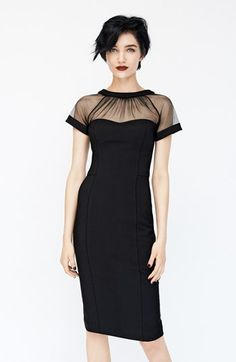 Illusion yoke crepe sheath dress   @nordstrom