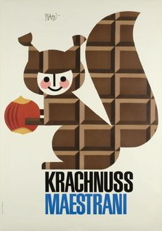 1957 Krachnuss Maestrani, Swiss Hazelnut Chocolate vintage advert poster /Squirrel
