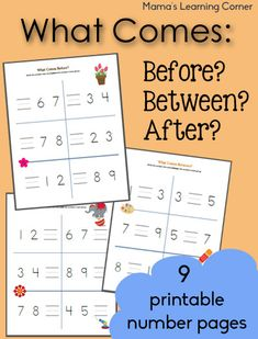 Excellent, FREE Math printables - What Comes Before, Between, and After Counting Worksheets - Mamas Learning Corner Math Activities For Kids, Math For Kids, Preschool Learning, Kindergarten Math, Teaching Math, Maths, Number Activities, Preschool Ideas, Baby Learning