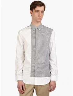 Maison Martin Margiela 10 Men's Cotton Striped Panel Shirt | oki-ni