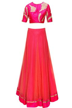 Pink and coral boond work lehenga set available only at Pernia's Pop-Up Shop.