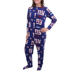 New York Giants Highlight Women's Microfleece Union Suit - Blue