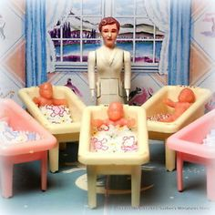 Renwal Hospital Nursery Set w Nurse 5 Babies Vintage Dollhouse Furniture 3 4"