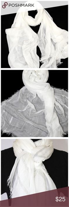 """B64 Metallic Foil Stripe Raw Edge White Scarf ‼️ PRICE FIRM UNLESS BUNDLED WITH OTHER ITEMS FROM MY CLOSET ‼️   Metallic Stripe Scarf  Absolutely gorgeous & luxurious!  Raw edges & metallic foil striping. 100% rayon.  Please check my closet for many more items including jewelry, scarves, designer clothing, handbags shoes & more!   38"""" wide  79"""" long Accessories Scarves & Wraps"""