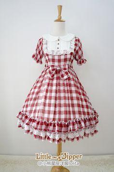 49a5a8332abff Little Dipper -Sweet Summer Dream- Gingham Chiffon Lolita OP Dress. Kawaii  Fashion ...