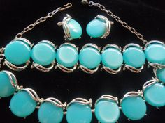 Vintage Aqua Lucite Necklace & Bracelet Earrings by MartiniMermaid, $89.50