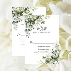 Editable Greenery RSVP Card, Botanical Response Card, Summer Foliage Reply Card, Garden Wedding, Outdoor Wedding, Leaves, Corjl Template 412 Wedding Shower Decorations, Wedding Suite, Simple Wedding Invitations, Party Activities, Etsy App, Wedding Welcome, Response Cards, Custom Cards, Printing Services