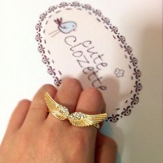 Angel wing double-finger ring  Ready stock and free normal mail in Singapore  www.cuteclozette.com