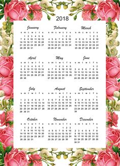 "Free printable 2018 calendar ""roses"" - year at a glance 