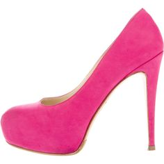 Pre-owned Brian Atwood Maniac Platform Pumps ($145) ❤ liked on Polyvore featuring shoes, pumps, pink, round toe platform pumps, pre owned shoes, pink shoes, pink platform pumps and hidden platform shoes